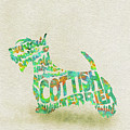Scottish Terrier Dog Watercolor Painting / Typographic Art by Inspirowl Design
