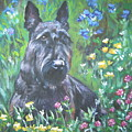 Scottish Terrier In The Garden by Lee Ann Shepard