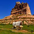 Scotts Bluff Wagon Train Panorama by Adam Jewell