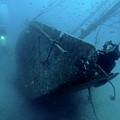 Scuba Diver Exploring  Le Voilier Shipwreck by Sami Sarkis