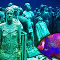 Sculpture Underwater With Bright Fish Painting Musa by Tony Rubino