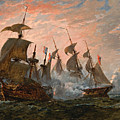 Sea Battle by Oswald Walters Brierly
