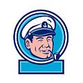 Sea Captain Smoking Pipe Circle Retro by Aloysius Patrimonio