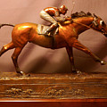 Seabiscuit Final Victory With Red Pollard Bronze Racehorse Sculpture  by Kim Corpany