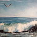 Seagull With Wave  by Lee Piper