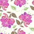 seamless   pattern of watercolor Fuchsia Flowers by Svetlana Foote