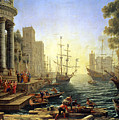 Seaport With The Embarkation Of Saint Ursula  by Claude Lorrain
