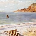 Seascape At Sainte Adresse  by Claude Monet