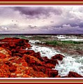 Seascape Scene On The Coast Of Cornwall L B With Alt. Decorative Ornate Printed Frame. by Gert J Rheeders