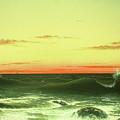 Seascape Sunset 1861 by Martin Johnson Heade