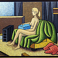 Seated Nude With Red Robe-framed by Bruce Bodden