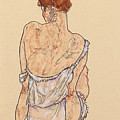 Seated Woman In Underwear by Egon Schiele