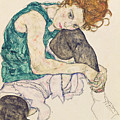 Seated Woman With Bent Knee by Egon Schiele