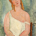 Seated Young Girl In A Shirt by Amedeo Modigliani