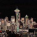 Seattle A Glow by Larry Keahey