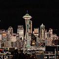 Seattle A Glow by Larry Keahey