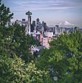 Seattle And Mt. Rainier Vertical by Manuela Durson