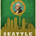 Seattle City Skyline State Flag Of Washington Art Poster Series 017 by Design Turnpike
