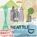 Seattle Cityscape- Art By Linda Woods by Linda Woods