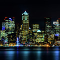 Seattle Downtown At Night by TL  Mair