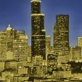 Seattle Skyline Glows by Al G Smith