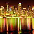 Seattle Panorama Reflection In Elliot Bay by Tim Rayburn