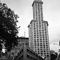 Seattle - Pioneer Square Tower Bw by Frank Romeo