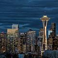 Seattle Skyline Blue Hour by Erika Fawcett