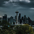 Seattle Skyline - Dramatic by John D Marshall