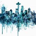Seattle Skyline Monochrome Watercolor by Marian Voicu