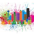 Seattle Skyline Paint Splatter Text Illustration by Jit Lim