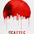 Seattle Skyline Red by Naxart Studio