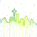 Seattle Skyline Watercolor  by Olga Shvartsur