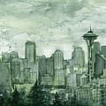 Seattle Skyline Watercolor Space Needle by Olga Shvartsur