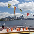 Seattle Skyline With Ship Deck by Phyllis Spoor