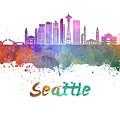 Seattle V2 Skyline In Watercolor by Pablo Romero
