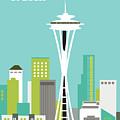 Seattle Washington Vertical Skyline - Teal by Karen Young