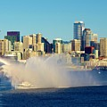 Seattle Water Fire Boat With Skyline by Phyllis Spoor