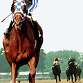 Secretariat Winning The Belmont Stakes, Jockey Ron Turcotte Looking Back, 1973 by Thomas Pollart