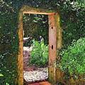 Secret Garden Entrance In Watercolor by Susan Molnar