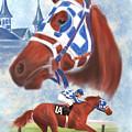Secretariat Racehorse Portrait by Becky Herrera
