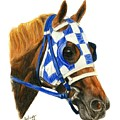 Secretariat With Blinkers by Pat DeLong