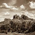Sedona Arizona Sepia Landscape - Cathedral Rock  by Gregory Ballos