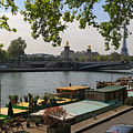 Seine Barges In Paris In Spring by Louise Heusinkveld