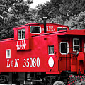 Selective Color Red Caboose by Parker Cunningham