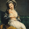 Self Portrait In A Turban With Her Child by Elisabeth Louise Vigee Lebrun