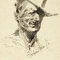 Self Portrait Of Frederic Remington by Frederic Sackrider Remington