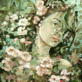 Self Portrait With Aplle Flowers by Vali Irina Ciobanu