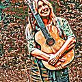 Self Portrait With Guitar by Lise Winne