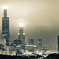 Sepia Chicago Skyline City Panorama by Gregory Ballos